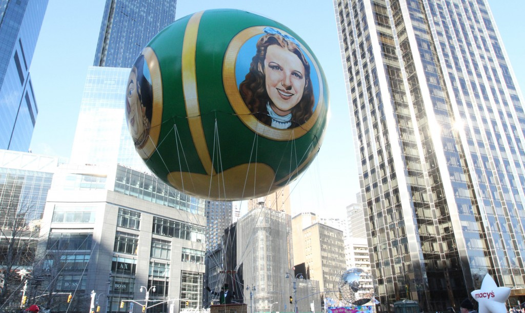 The Wizard Of Oz Balloon Makes It Way Through New Yorks Columbus Circle During The Macys