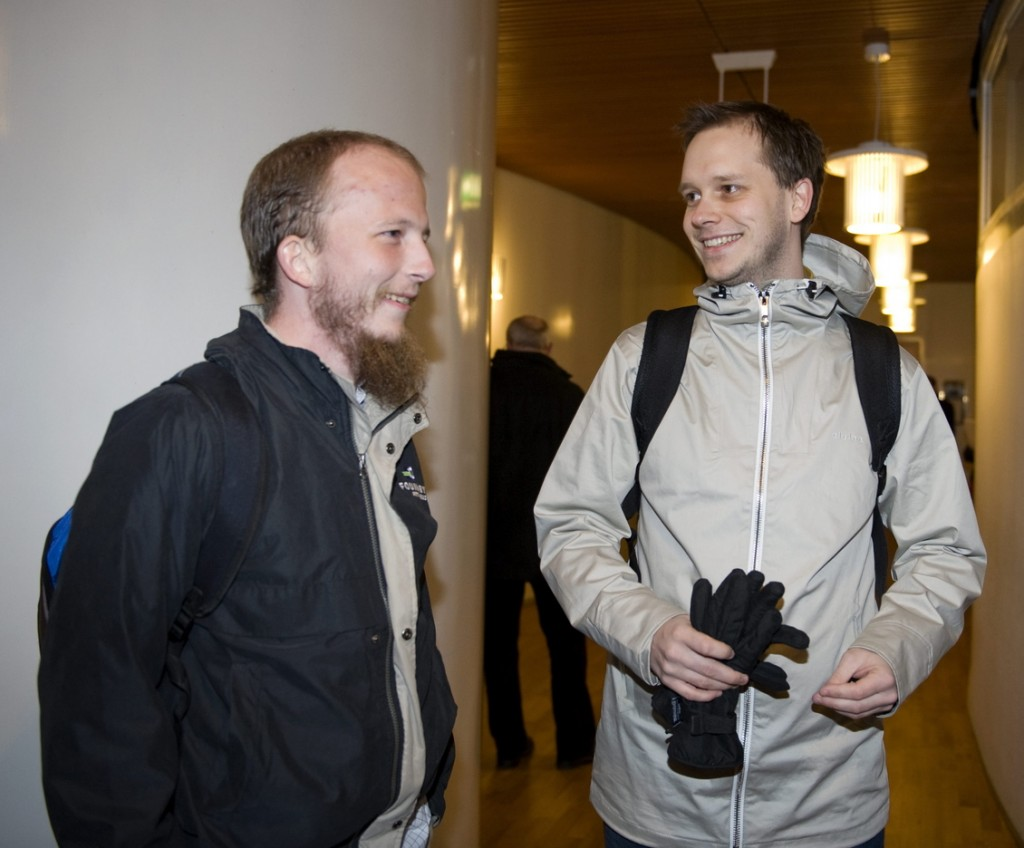 "Peter Sunde, right, who founded The Pirate Bay with Gottfrid Svartholm Warg, left, is developing Heml.is, Swedish for ""secret,"" which is marketed as a secure messaging app for your phone. The Pirate Bay is a notorious file-sharing website."