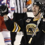 Boston Bruins defenseman Zdeno Chara celebrates his winning goal during the third period of Boston's 3-2 win over the New York Rangers in Boston on Friday.
