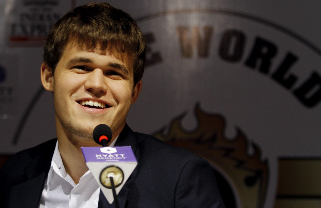 Norway's Magnus Carlsen answers a question during a news conference after winning the match against India's Viswanathan Anand during the Chess World Championship match in Chennai, India, on Friday.