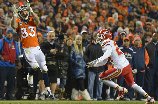 Denver Broncos wide receiver Wes Welker (83) catches a pass against the Kansas City Chiefs in the second quarter of an NFL football game, Sunday, Nov. 17, 2013, in Denver.