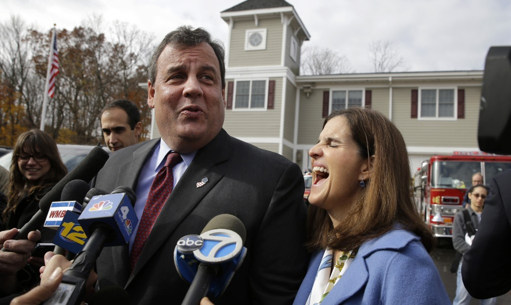 New Jersey Gov. Chris Christie and wife Mary Pat Christie are jovial after voting Tuesday.