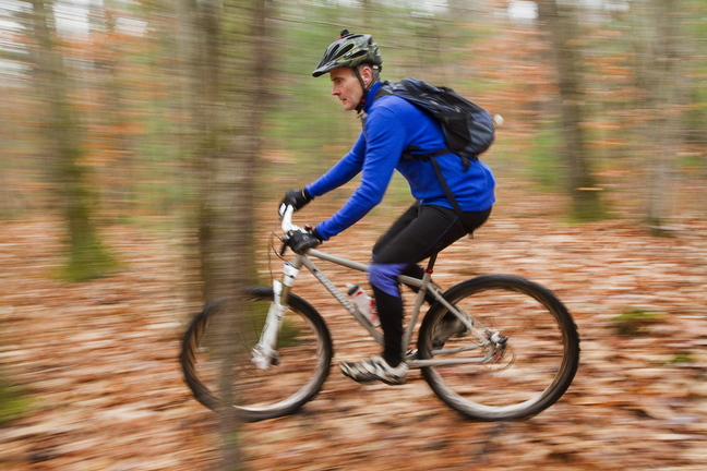 Caleb Hemphill, a Falmouth carpenter and vice president of the Falmouth Land Trust, is also a mountain biker. He's helped organize other bikers to build and improve trails, including bridges in wet areas.