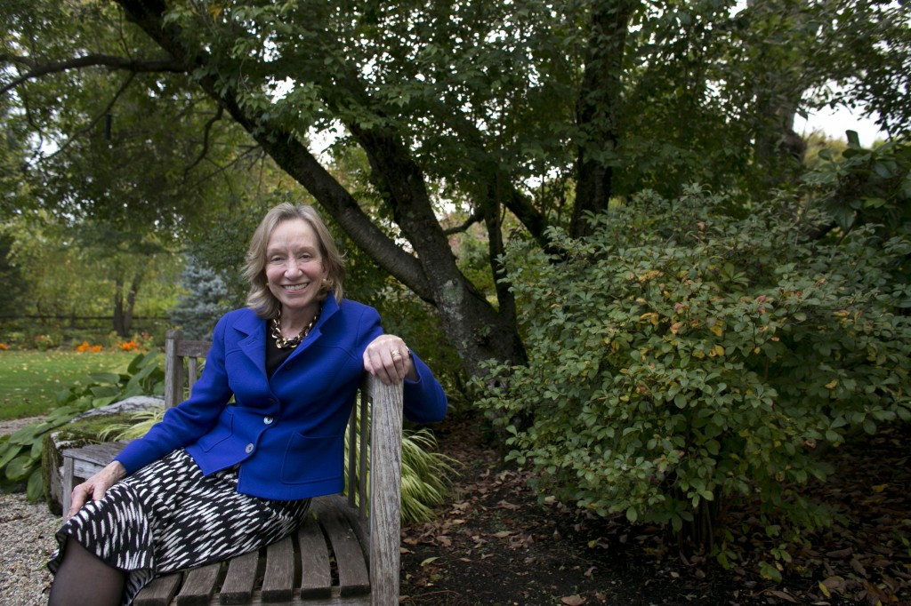 "Author Doris Kearns Goodwin poses for a portrait outside at her home in Concord, Mass. Goodwin's latest book,""The Bully Pulpit: Theodore Roosevelt, William Howard Taft, and the Golden Age of Journalism,"" will be released on Nov. 5."