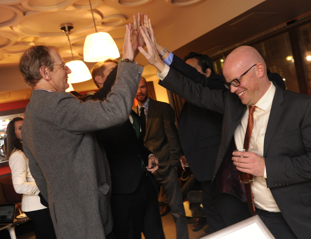 Advocates of tax revenues from legal marijuana sales celebrate an election victory in Denver on Tuesday.
