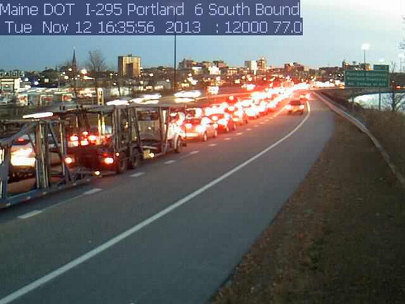 Traffic was backed up for miles Tuesday evening after an I-295 southbound crash near Exit 6B in Portland.