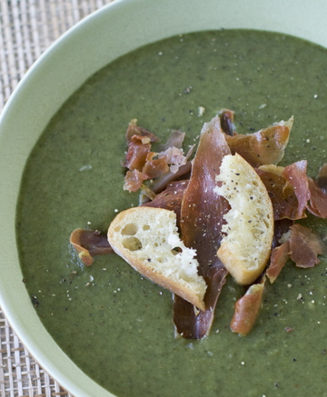 """Potato and greens soup calls for spinach and kale, the latter enjoying """"it"""" vegetable status in the food world."""