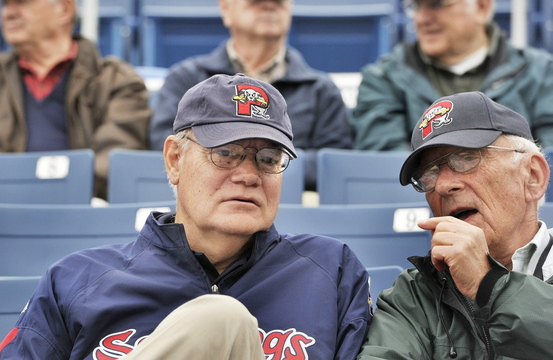 The late Bill Troubh, right, talks with Charlie Eshbach at a Sea Dogs game in May 2013. Eshbach's 45-year career in minor league baseball includes 11 years as president of the Eastern League before he joined the Sea Dogs. Troubh was also an Eastern League president.