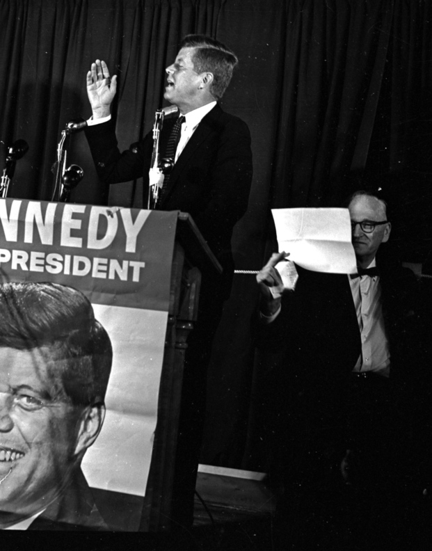 Sen. John F. Kennedy addresses a crowd at Portland Stadium during a campaign visit to Maine in 1960.