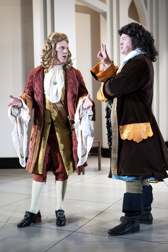 "Dustin Tucker, left, with Daniel Noel in Portland Stage's ""Bach at Leipzig"""