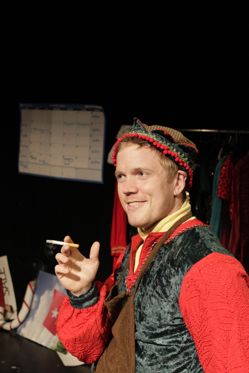 "Dustin Tucker in the Portland Stage production ""The Santaland Diaries"""