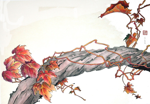 """Autumn Vine,"" Asian brush by Jean Kigel, from ""Sayonara,"" the exhibition of Kigel's work continuing through November at Summer Island Studio, 149 Maine St., in Brunswick."