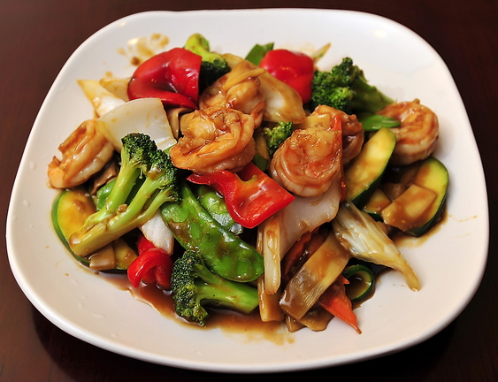 Jumbo Shrimp with Mixed Vegetables at Evergreen Chinese Restaurant in South Portland.