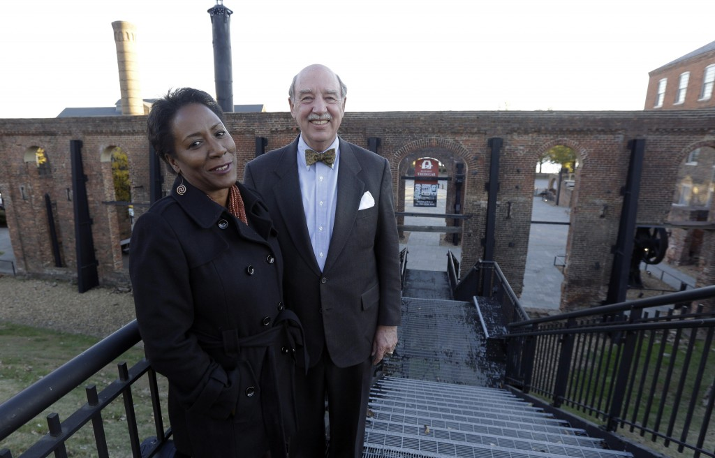 Christy Coleman, left, director of the American Civil War Center, left, and Waite Rawls of the Museum of the Confederacy will bring their museums together at the site of the old Tredegar Ironworks in Richmond, Va.