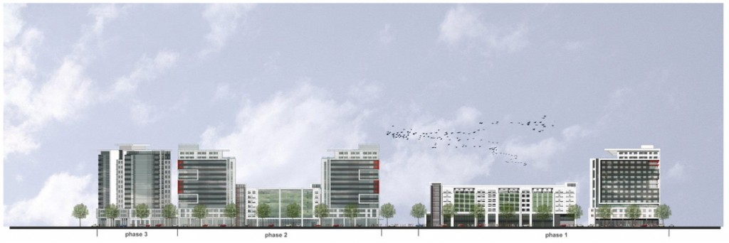 A rendering shows the Somerset Street elevations of Midtown, a plan proposed by the Miami-based Federated Companies for up to four residential towers and a parking garage on roughly three acres of vacant city-owned land on Somerset Street, Portland, Monday, Nov. 18, 2013. Drawing courtesy The Federated Companies