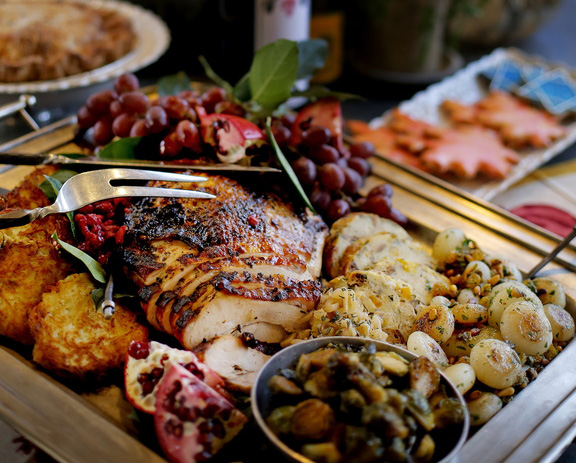 A Thanksgivukkah spread prepared at Aurora Provisions in Portland brings food traditions from Hanukkah to Thanksgiving, which converge this year and won't again for another 79,043 years.