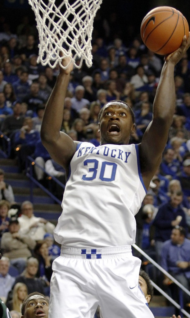 Kentucky's Julius Randle goes to the hoop during the Wildcats' 68-61 win Monday night over Cleveland State at Lexington, Ky.