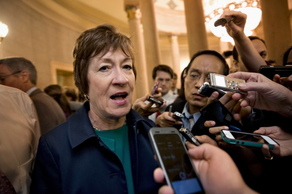 Sen. Susan Collins, R-Maine speaks to reporters on Capitol Hill in Washington last month. Collins is a co-sponsor of Employment Non-Discrimination Act.