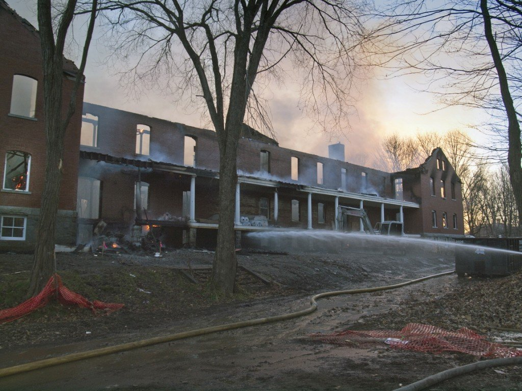 Fire destroyed the Inn at Diamond Cove on Great Diamond Island early Saturday. The building was under renovation and was scheduled to open next year.