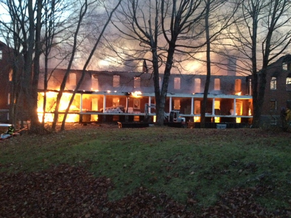 The fire, which required much equipment to extinguish because it was so large, was under control by 10 a.m.