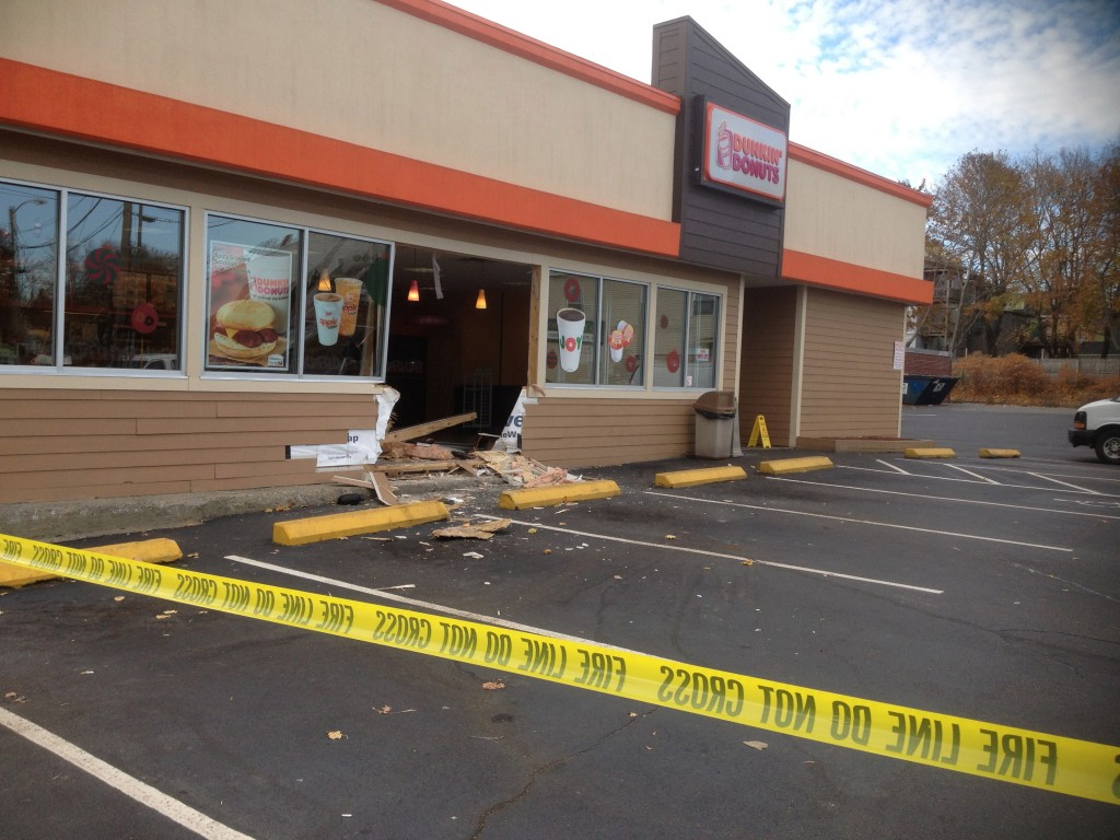 An early morning accident at the Dunkin' Donuts at Woodfords Corner in Portland left a gaping hole in the building. The driver was taken to the hospital but no one inside the coffee shop was injured.