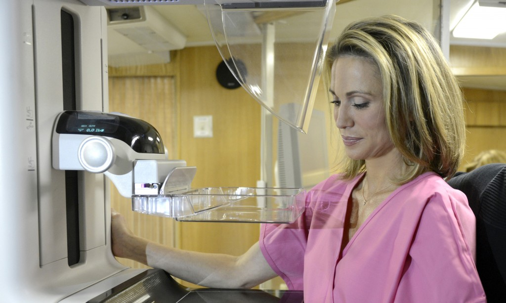 """Amy Robach prepares for a mammogram Oct. 1. A month after undergoing the test on """"Good Morning America,"""" she said Monday she has breast cancer and will have a double mastectomy"""