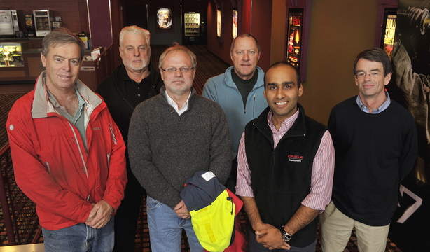 "Six Maine sailors gathered Thursday at Clarks Pond Cinema in South Portland for an advance screening of the new movie ""All is Lost."" They used their combined 242 years of sailing experience to critique the film's seagoing tactics and realism. From left are Peter Stoops, Jeff Aumuller, David Dodson, Max Fletcher, Hasan Adil and Alex Agnew."