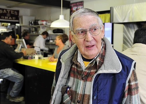 "Ed Couture was surprised by the news that Rep. Mike Michaud is gay. ""My God, I couldn't believe it,"" Couture said at Simones' Hot Dog Stand on Monday."