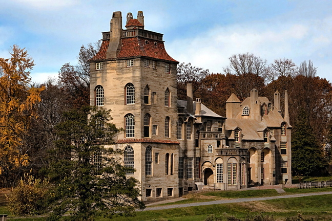 Fonthill, a rambling, poured-concrete mansion, was built in Doylestown, Pa., in the early 20th century without blueprints for Henry Mercer, owner of Moravian Pottery & Tile Works. It is part of the Mercer Mile, which includes the Tile Works and a museum to house Mercer's folk art.