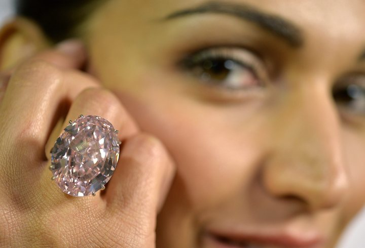 """The Pink Star"" weighs 59.60 carats and took two years to cut to form."