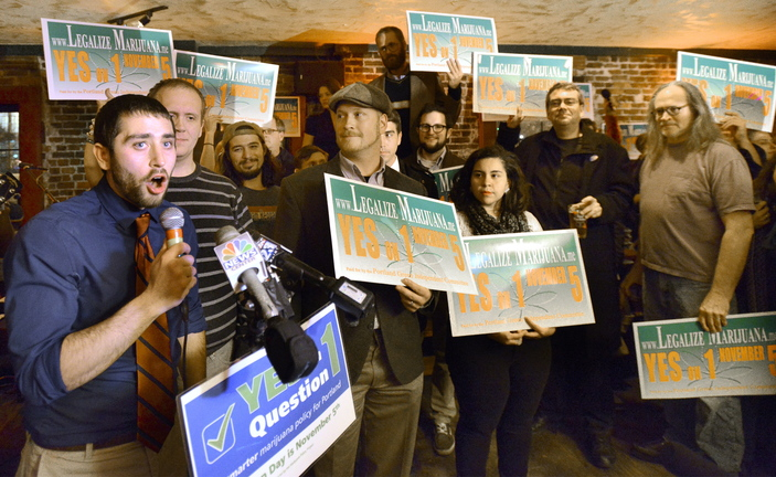 "David Boyer, Maine political director of the Marijuana Policy Project, speaks at Portland's ""Yes on 1"" rally as they celebrate victory at Brian Boru in Portland."
