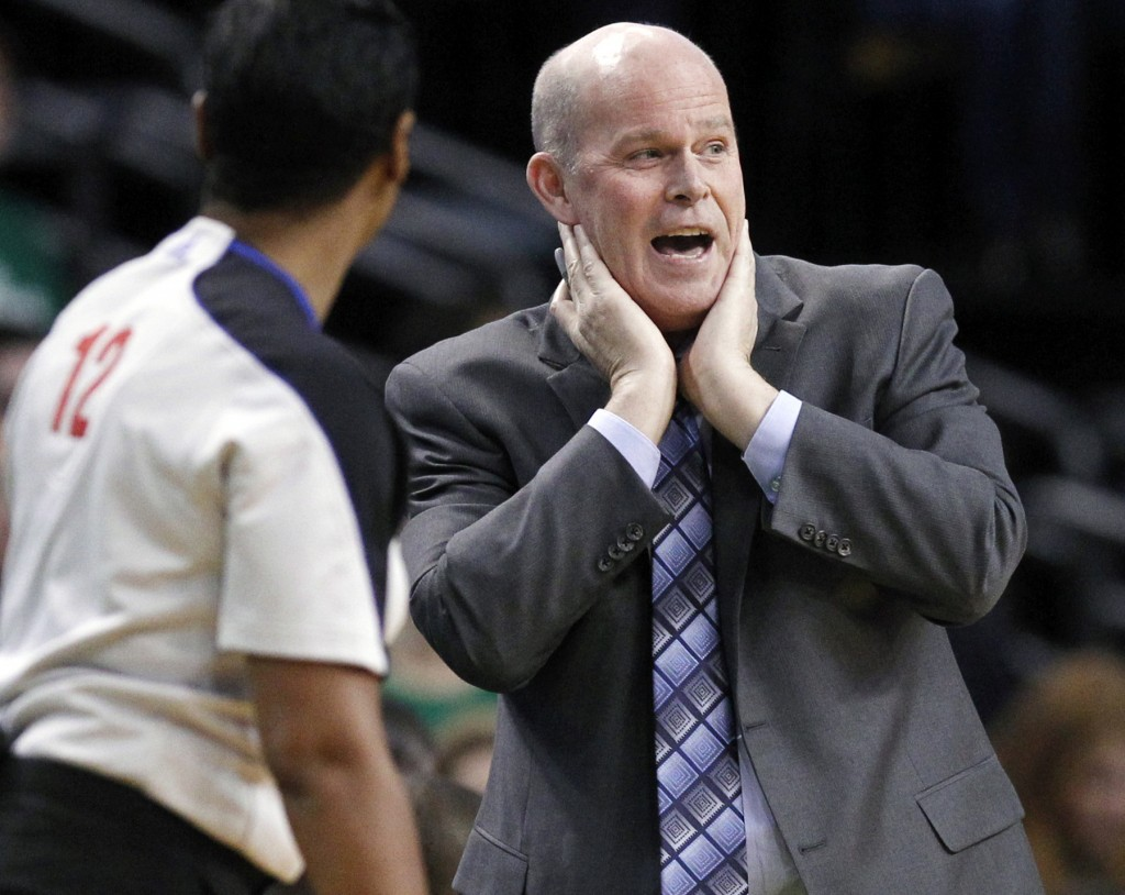 Charlotte Coach Steve Clifford, a Lincoln native who played at the University of Maine at Farmington, talks with referee Violet Palmer during the second half of the game against the Celtics.
