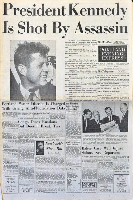 Copies of the Portland Press Herald from November 1963.
