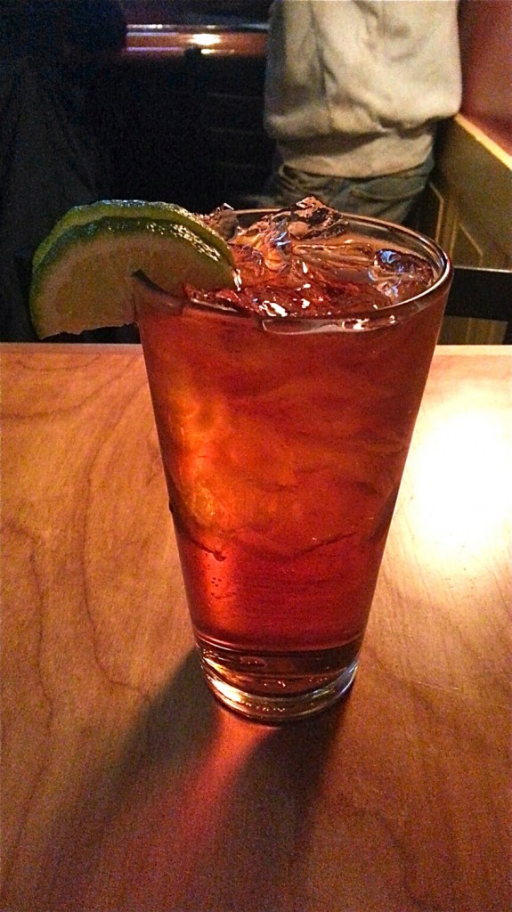 In addition to beers on tap, the bar offers cocktails, such as the house Dark 'n' Stormy for $8.50.