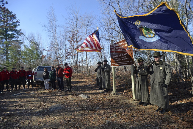 The former Brownfield Bog is renamed the Maj. Gregory Sanborn Wildlife Management Area during a Nov. 13 ceremony attended by, among others, the Maine Department of Inland Fisheries and Wildlife Advisory Council and the Maine Warden Service.