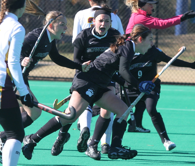 Bowdoin celebrates their first and only goal against Salisbury State in the NCAA Division III championship in Norfolk, Va. Bowdoin won 1-0.