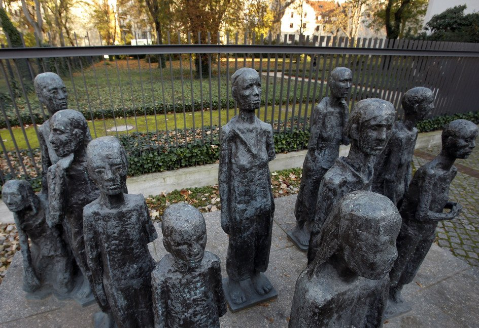 A sculpture by German artist Will Lammert is shown at a Jewish cemetery and memorial in Berlin. The director of Berlin's German Resistance Memorial Center says Gestapo head Heinrich Mueller was buried with thousands of others in a common grave in this cemetery.