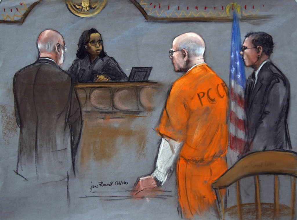 """In this courtroom sketch, former Boston crime boss James """"Whitey"""" Bulger, second right, flanked by defense attorneys, J.W. Carney Jr., left, and Hank Brennan, stands before Judge Denise Casper in federal court in Boston on Thursday. Bulger was sentenced Thursday to life in prison for his murderous reign in the 1970s and '80s, bringing to a close a case that exposed FBI corruption so deep that many people across the city thought he would never be brought to justice."""