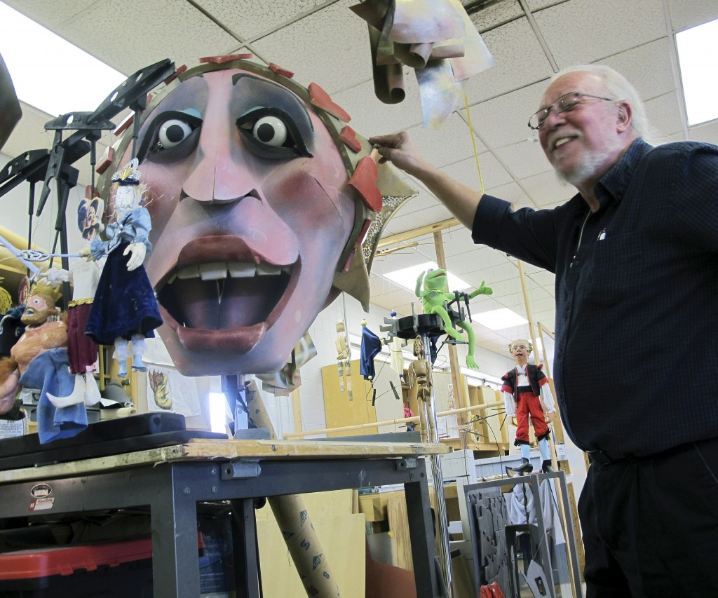 Bart Roccoberton Jr., director of the University of Connecticut's Puppet Arts Program, stands in the school's workshop in Storrs, Conn. UConn is one of two schools in the nation to offer degrees in puppetry.
