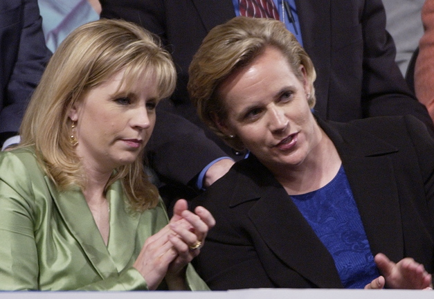 Elizabeth Cheney, left, and Mary Cheney