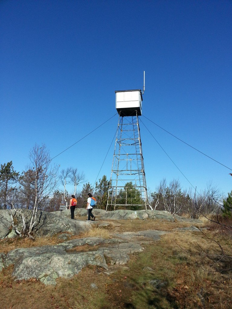 The fire tower at the summit of Pleasant Mountain in Bridgton. The Ledges Trail is 1.8 miles from the trailhead to the summit, one-way, with about 1,600 foot elevation gain.