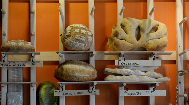 Fresh bread on display at Leaven Beer & Bread House in Somersworth, N.H.