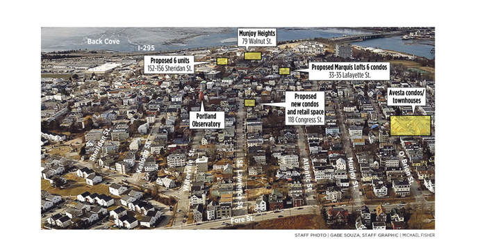 Proposed housing projects are scattered around Munjoy Hill in Portland's East End.