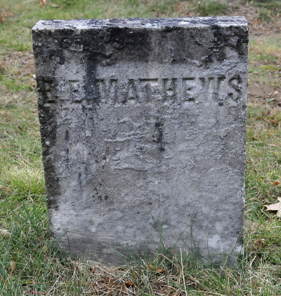 The grave marker of Edward E. Mathews in Pine Grove Cemetery in Waterville. Mathews, killed in 1847, was the first recorded murder victim in Waterville.