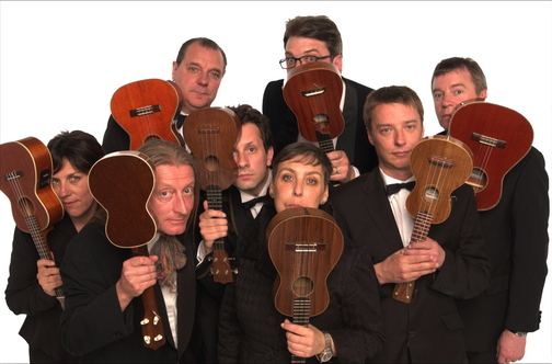 Members of the Ukulele Orchestra of Great Britain have fun with their tiny instruments, but when it comes to their music, they're all business.