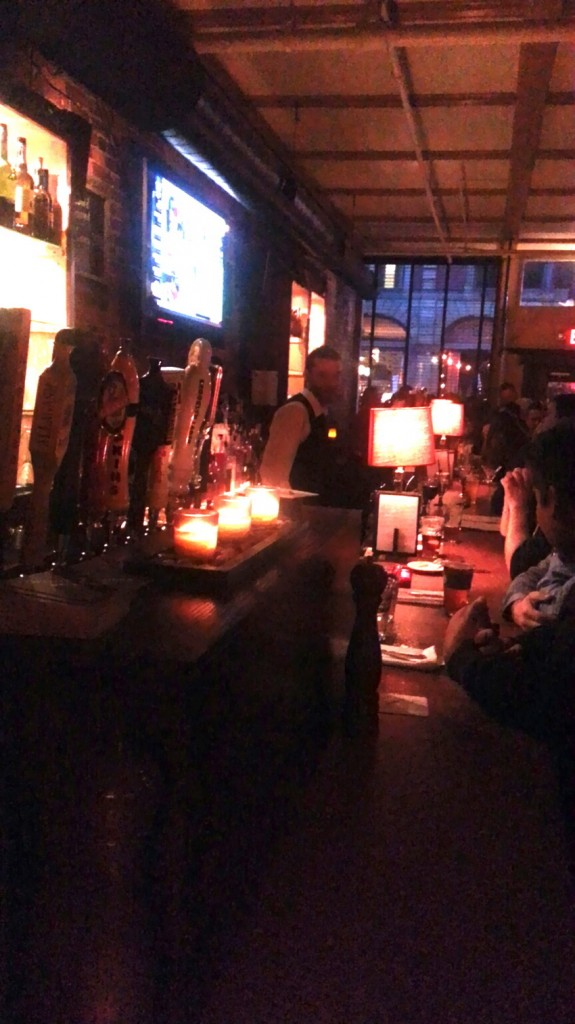 The Grill Room is dark and cavernous with plenty of standing room at the bar if the seats happen to be filled.