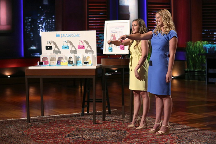 "Kelley Coughlan, in blue dress at right, grew up in Kennebunk and will be featured on ABC's ""Shark Tank"" Friday with her company ""pursecase,"" the first ever smartphone clutch designed with just essentials in mind. Coughlan and her business partner Jenn Deese, at her right, will pitch to the panel of five millionaire and billionaire investors including Mark Cuban, Barbara Corcoran, Kevin O'Leary, Lori Greiner and Robert Herjavec. They will find out by the end of the episode if anyone wants to invest in their product or not."