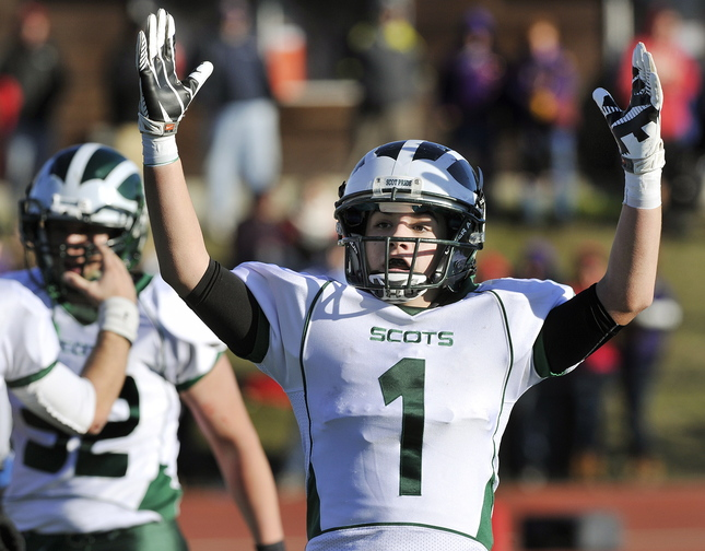 Antonio Bruni reacts after his team's quarterback, Zach Dubiel, scored on a 6-yard run on fourth down – the winning points as Bonny Eagle captured the Class A title.