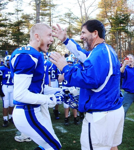 Jake Lary celebrates with Coach Joe Rafferty after Kennebunk beat Marshwood on Saturday and earned a spot against Cony in the Class B championship game Friday night.