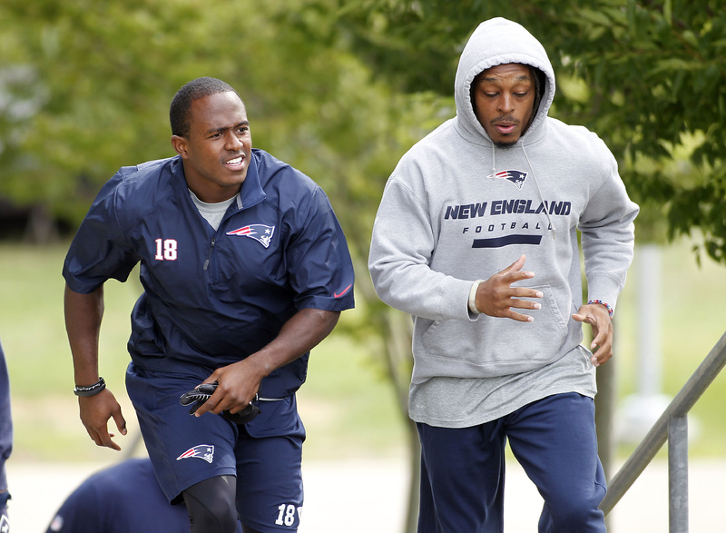 "New England Patriots wide receiver Matthew Slater, left, shown with cornerback Marquice Cole, said, ""I think we have a locker room with a lot of respect.''"